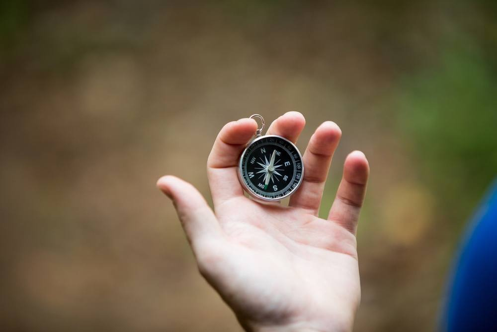 Close-up of hand holding compass in forest-1
