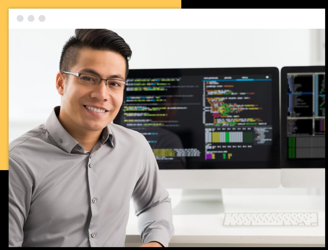 Man with desktop